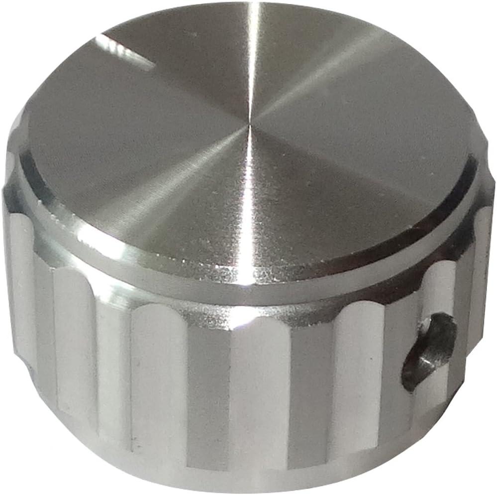 AERZETIX: Botón para potenciómetro de Eje Lisa 6.35mm Ø25x15mm de Aluminio Color Plata C12531