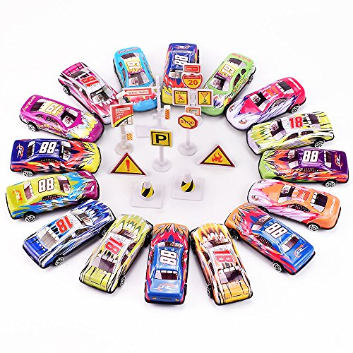 Diecast Metal Toy Car (Jellydog Toy Race Car Toys, Play vehicles, Die Cast Metal Toy Cars ,Set of 16 Vehicles + 9 Traffic Obstacles, Great Gift for Toddlers, Race Car Party Favors)