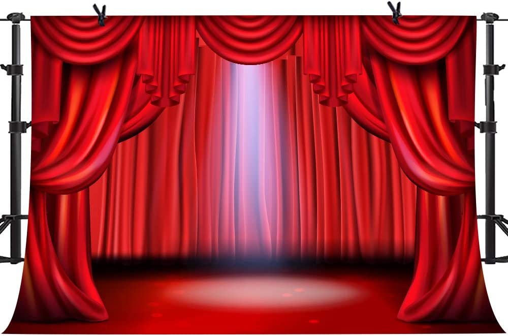 PHMOJEN Theater Interior Red Curtain Stage Photography Backdrop Vinyl 10x7ft Spotlight Background for Theme Party Show Portrait Photo Studio Props DSPH024