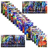 Pokemon 100cards TCG ex gx Trading Card Game,Pokemon Cards Team up Packs, Poke TCG Style Include EX Card/Mega EX Card /GX Card /Energy Card (L)
