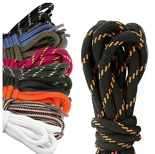 DailyShoes Round Hiking Boot Shoelaces Strong Durable Stylish Shoe Laces Harbinger Ibrahim , (Great for Bowling Shoes) Black Lime 36″ inch (91 cm), (10 PAIRS PACK)