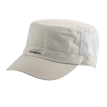 Overmont Unisex tejado Plano Militar Sombrero Gorra de Beisbol Ajustable y  Transpirable de Secado rápido Parasol a68a9100565