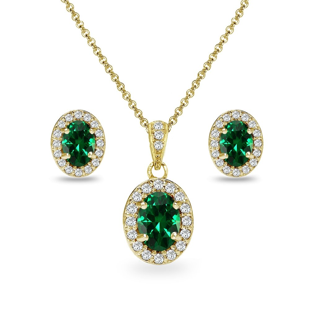 Yellow Gold Flashed Sterling Silver Simulated Emerald & CZ Oval Halo Necklace & Stud Earrings Set with CZ Accents