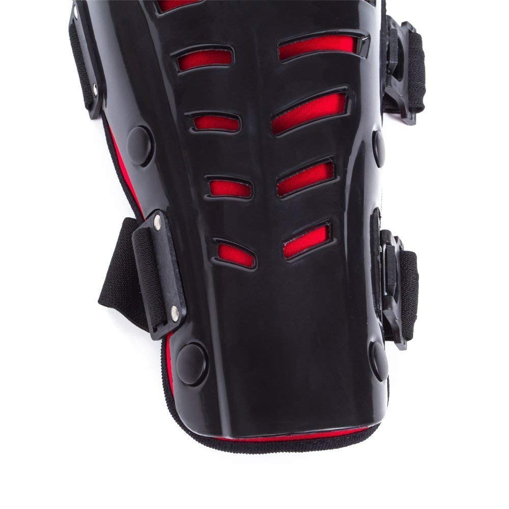 SunTime Motorcycle Knee Pads,Motorcycle Motocross Knee Pads Protector Guard,Adjustable for Motocross Bicycle Skate Skateboard Knee shin protection Adult Black /& Red