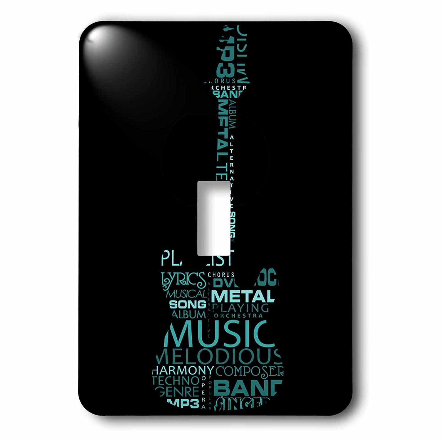 3dRose lsp/_101439/_1The Word Music Shaped Like A Guitar In Turquoise Single Toggle Switch Multicolor