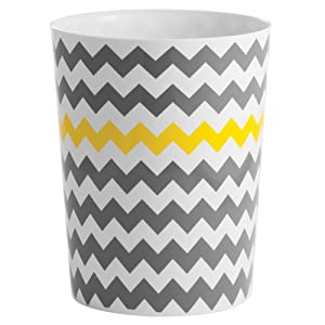 "InterDesign Chevron Plastic Wastebasket, Trash Can for Bathroom, Bedroom, Kitchen, Home Office, Dorm, College, 8"" x 8"" x 10"", Gray and Yellow"