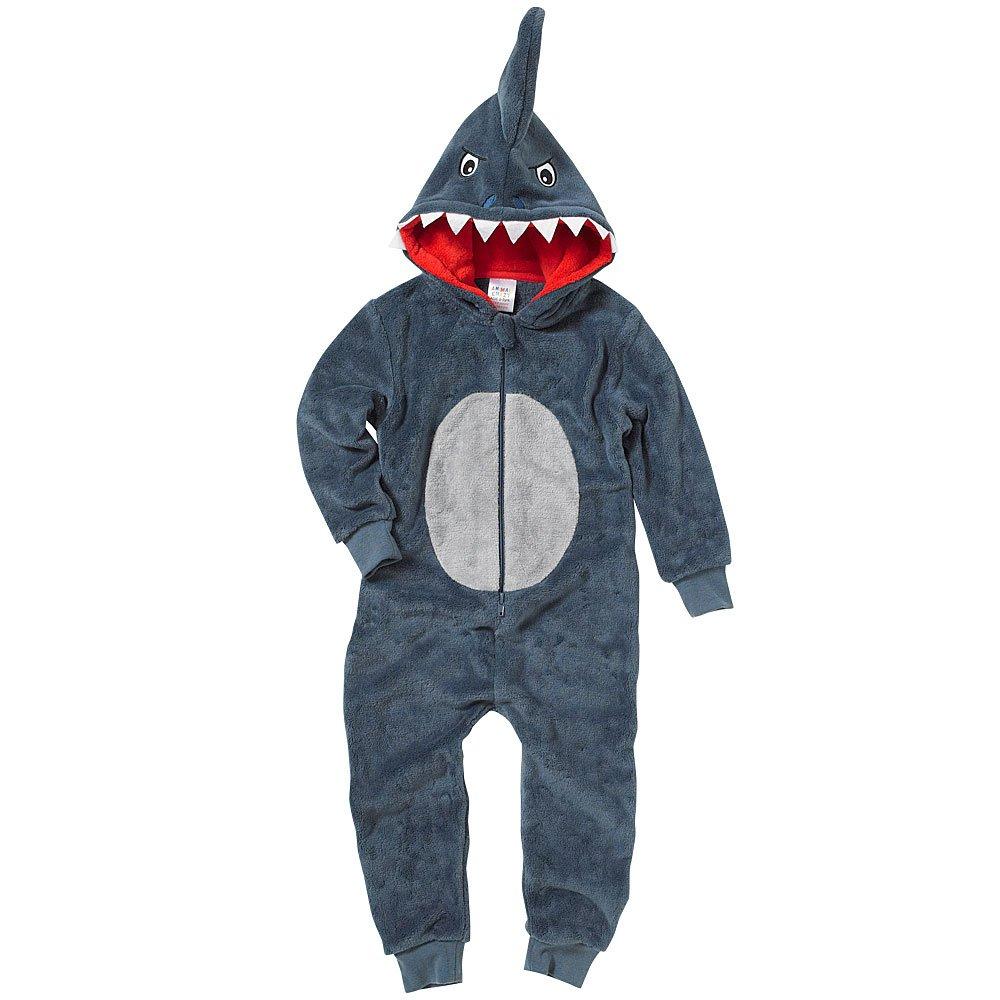601fa79e4b48 Onesies Animal Crazy Boys Supersoft Fleece Shark Jumpsuit Playsuit ...