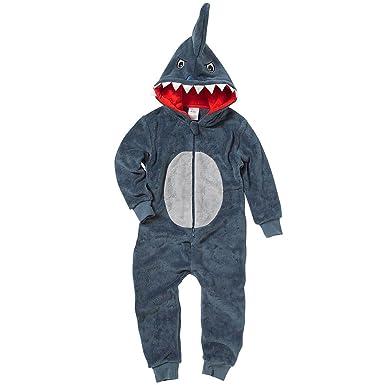 81c9e4c87 Onesies Animal Crazy Boys Supersoft Fleece Shark Jumpsuit Playsuit ...