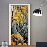 Gzhihine custom made 3d door stickers Leaves Decor Canadian Maple Trees Falling Leaves Down Surrounded by Scenic Rocks Stones Foliage Slate Blue and Yellow For Room Decor 30x79