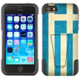Apple iPhone SE Hybrid Case Greek Vintage Flag 2 Piece Style Silicone Case Cover with Stand for iPhone SE