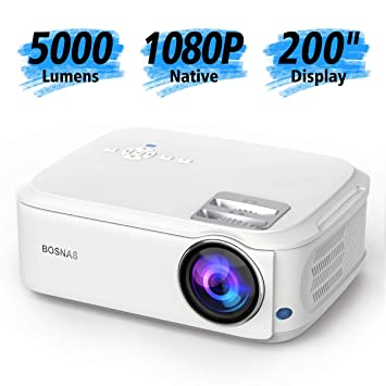 BOSNAS Proyector Full HD Resolución Nativa 1920*1080P Proyector de Cine en casa LCD LED Proyector de Video MAX 200 Pulgadas Compatible con HDMI USB ...