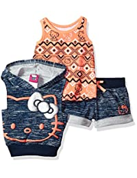Hello Kitty girls 3 Piece Sleevless Hoodie Short Set With Space Dye Lurex