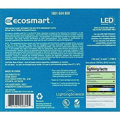 40W Equivalent Soft White B11 LED Light Bulb (3-Pack) 1001604600