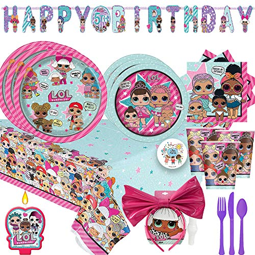LOL Surprise Birthday Party Supplies Pack For 16 With Dinner and Dessert Plates, Napkins, Cups, Plastic Tablecover, Banner, Candle, Cutlery, LOL Character Snow Angel Headband, and Exclusive Pin]()