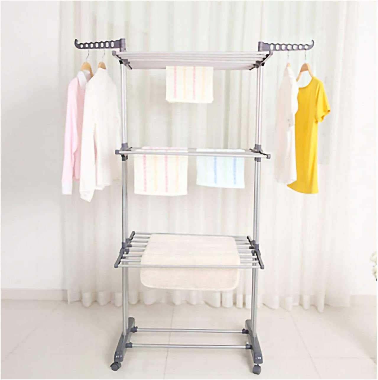 Kentaly Clothes Drying Rack, 3-Tier Collapsible Rolling Dryer Clothes Hanger Adjustable Large Stainless Steel Garment Laundry Racks with Foldable Wings Indoor Outdoor