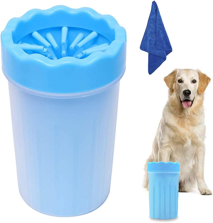 WELLXUNK Limpiador Portátil para Patas de Perro,Limpiador Patas Perro Mascota,Taza de Limpieza para Mascotas con Toalla,para Limpiar Patas de Perro Gato (Azul M)