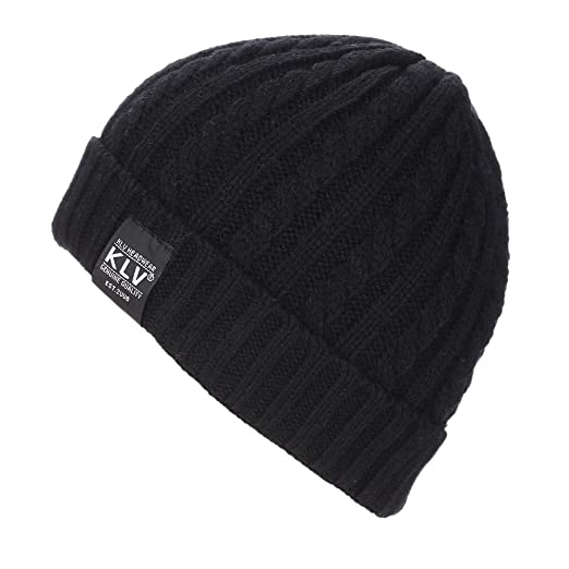 483e3020214 Amazon.com  Shybuy Women   Mens Solid Winter Warm Knitting Wool Baggy  Slouchy Hats Beanie Hat Skull Cap (Black