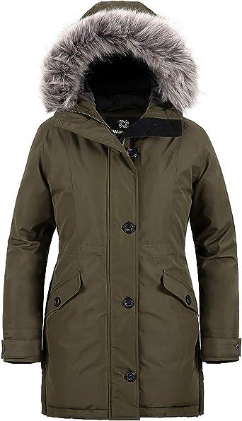 Wantdo Womens Winter Coat Waterproof Warm Long Puffer Jacket with Fur Hooded