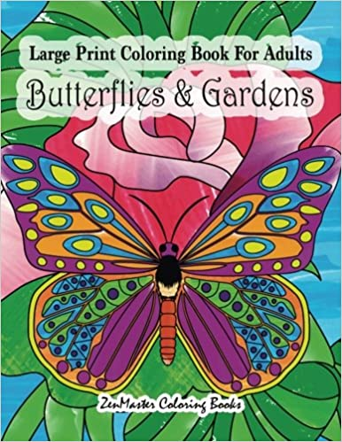 Amazon Com Large Print Coloring Book For Adults Butterflies