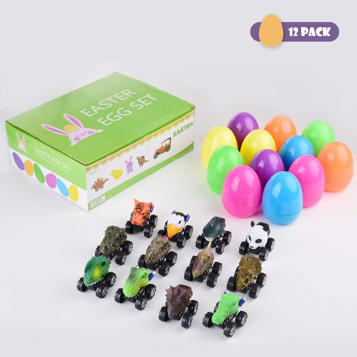"""Mitcien 12 Pack 4/"""" Easter Eggs Toys Filled with Dinosaur Animal Pull Back Cars Plastic Surprise Eggs Giant Large Easter Egg Basket Stuffers Fillers Easter Gifts Toys for Kids Toddlers"""