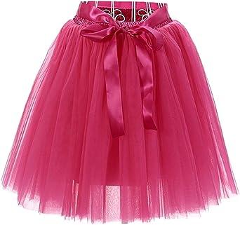 Aysimple Falda de tutú de Las Mujeres Midi Tulle Faldas 7 Capas de ...