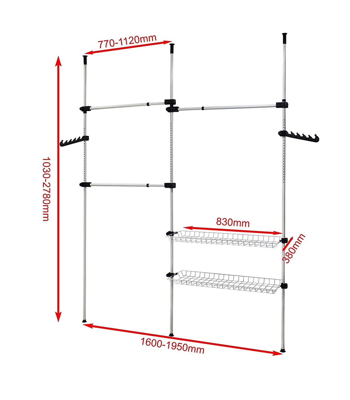 Estante Telesc/ópico de Prendas Carga m/áxima: 90 kg Todeco Blanco Material: Tubos de hierro Organizador de Armario Telesc/ópico 320 x 200 cm