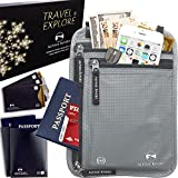 Neck Wallet Travel Pouch & Passport Holder RFID Blocking + 5 Extra Bonus Sleeves