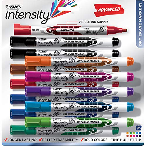 BIC Intensity Advanced Dry Erase Marker, Fine Bullet Tip, Assorted Colors, 12-Count - Expo Bullet Tip