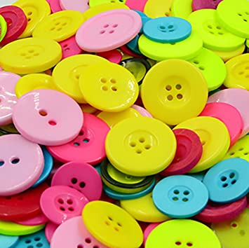 100//600Pcs 4-hole Round Resin Flat Buttons Mixed Decoration Sewing Craft Colours