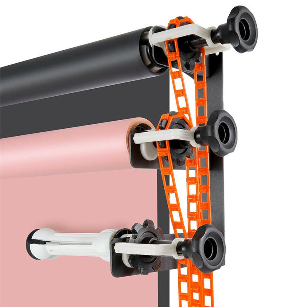 SaveOnMany Wall Ceiling Mount 3-Roll Manual Background Paper Support System, Full Set Three Brackets and Triple Expandable Rollers with Chains for Mounting 1/2/3 Paper Backdrop Rolls