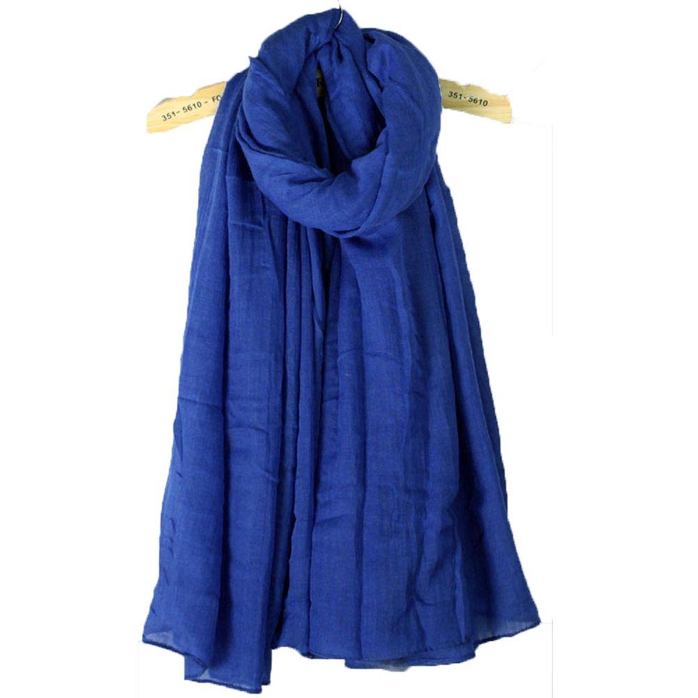 Blevla Ramie Cotton Elegant Long Solid Color Scarf Shawl Royal blue