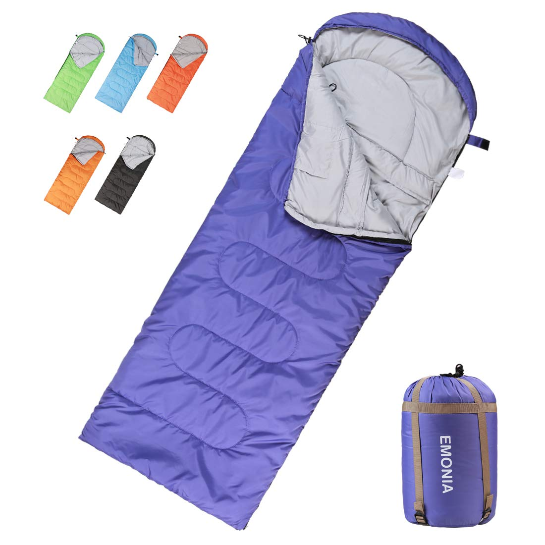 Emonia キャンプ寝袋 3シーズン 防水 アウトドア ハイキング バックパッキング 寝袋 旅行に最適 軽量 ポータブル 封筒型寝袋 大人 子供 女の子 男の子 B07C8H1W1H Purple - Left Zip Semi-Rectangular Semi-Rectangular|Purple - Left Zip