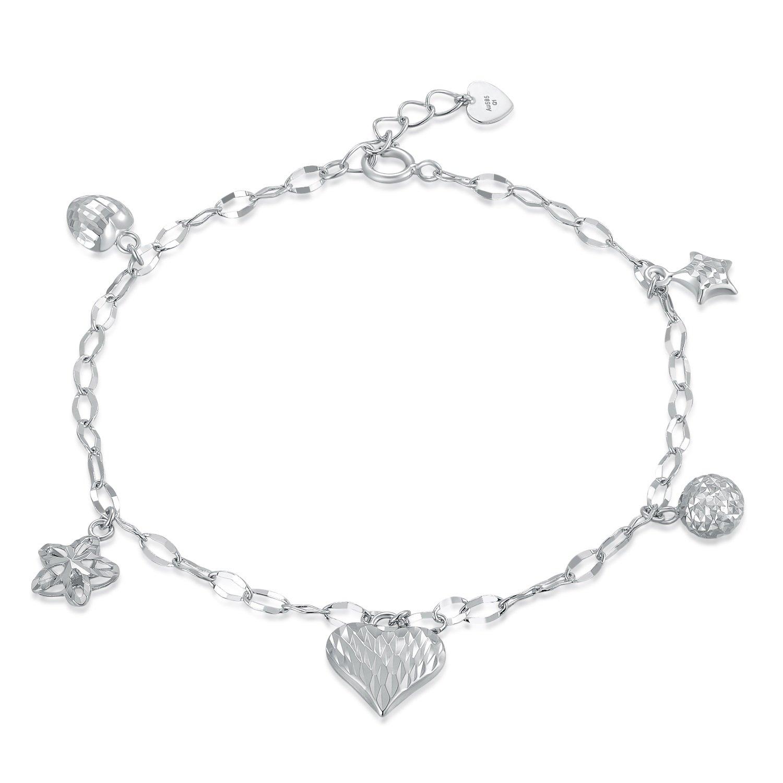 MaBelle 14K White Gold Diamond-Cut Heart, Star, Bead, Flower Charm Anchor Chain Bracelet (6.5'')