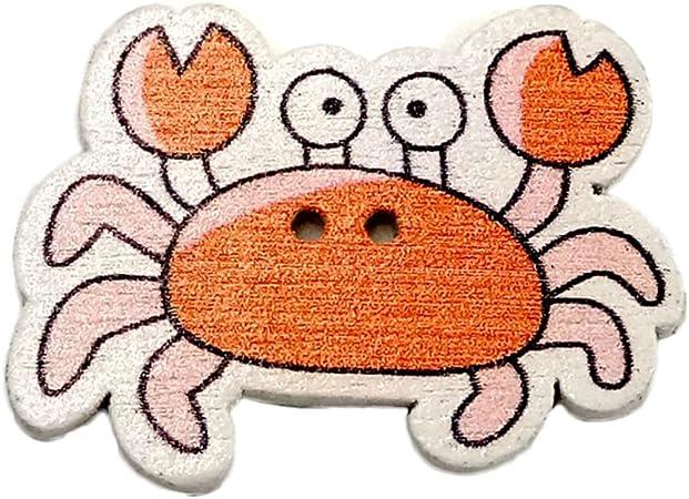 Geshiglobal 50 piezas de animales marinos de dibujos animados para pescado caballito de mar con 2 agujeros para coser botones de madera