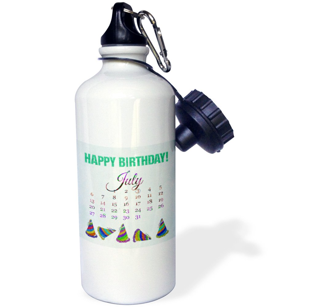 Multicolor Glitter Look Happy Birthday and Colorful Hats-Sports Water Bottle 3dRose July 3rd 21 oz wb/_181468/_1 21oz