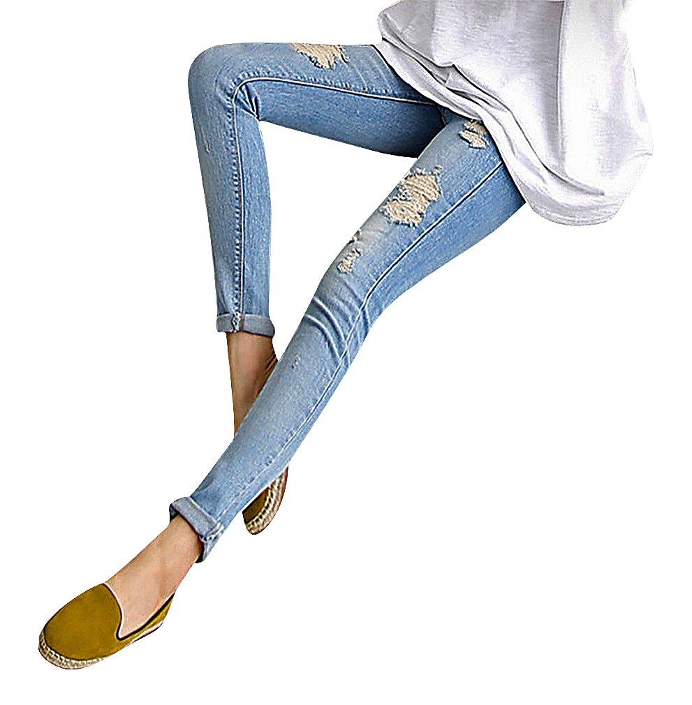 US&R, Women's Light Blue Wash Ripped Secret Fit Belly Maternity Skinny Jeans, Blue 4 ,Manufacturer(M)