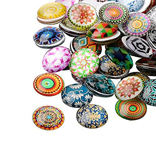 Custom Button Earrings (PandaHall Elite 1 Box About 200pcs Flat Back Printed Flower Pattern Glass Half Round Dome Cabochons for Photo Craft Jewelry Making 10mm Diameter)