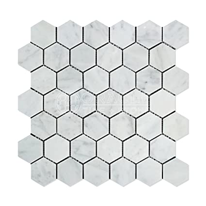 Carrara White Italian (Bianco Carrara) Marble 2 inch Hexagon Mosaic on blender home design, triangle home design, typhoon resistant design, photoshop home design, plain home design, square home design, chevron home design, honeycomb home design, tube home design, golden ratio home design, pipe home design, shape home design, arch home design, symmetry home design, black home design, octagon home design, egg home design, cat home design, rhombus home design, hurricane home design,