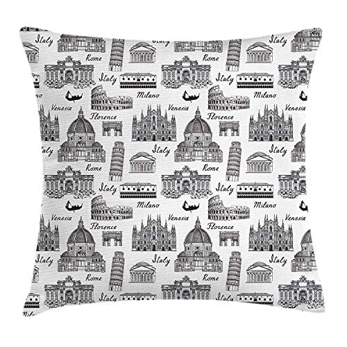 Queolszi City Throw Pillow Cushion Cover, Monochrome Sketch Style Famous Places from Italy Rome Milano European Architecture, Decorative Square Accent Pillow Case, 12 X 12 Inches, Black White