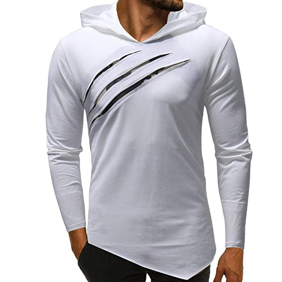 ZARLLE Camisa de Manga Larga con Capucha de Camuflaje en Color Puro Blusa para Hombre Gym