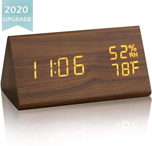 JCHORNOR Wood Digital Alarm Clock,Led Wooden Digital Desk Clock,Time Temperature Warm Brightness Humidity Clock for Bedroom Office Kid Room-Brown2