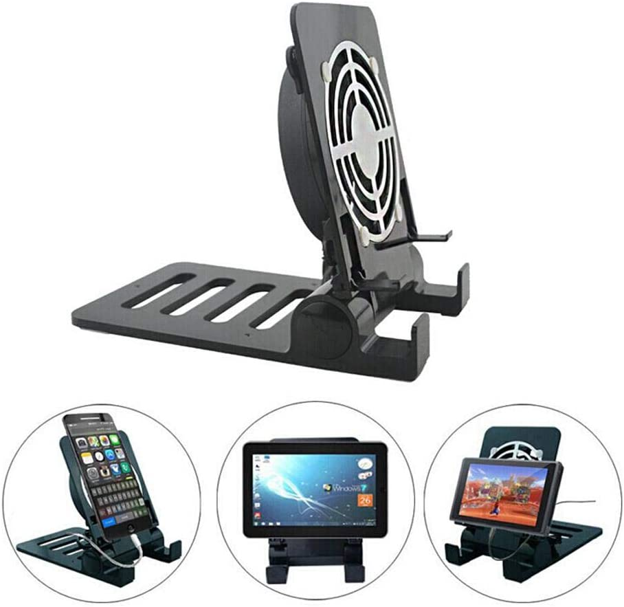 Goglor Phone Cooling Fan, 2 in 1 Portable Cell Phone Cooler Radiator & Tablet Holder Stand, Adjustable Angle Lazy Desktop Stand Cooling Pad for Ipad & Samsung iPhone Smartphone