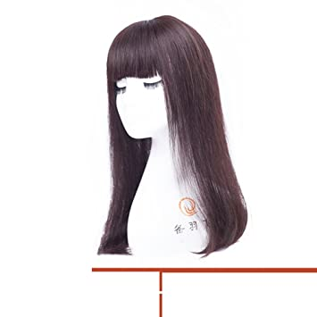 Realista Negro Peluca Aire Flequillo fino Peluca Larga recta pelo Sets de pelucas-H
