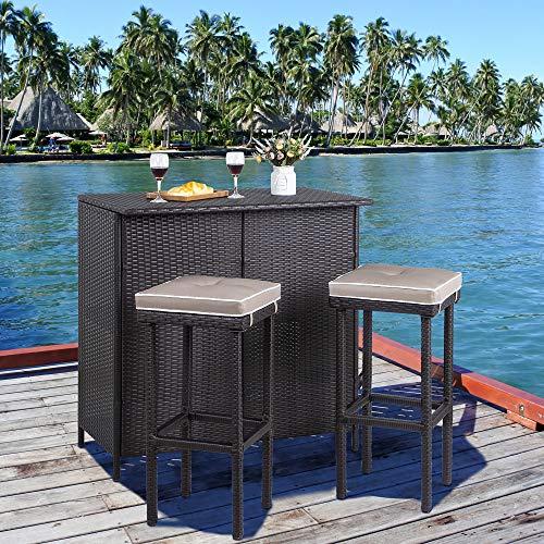 Viogarden 3 Piece Patio Bar Set, Outdoor Wicker Bar Furniture, Rattan Bar Table w/ 2 Storage She ...