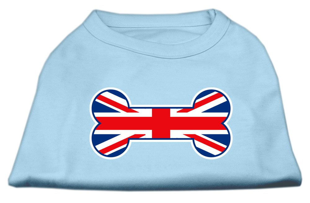 Mirage Pet Products 10-Inch Bone Shaped United Kingdom Union Jack Flag Screen Print Shirts for Pets, Small, Baby bluee