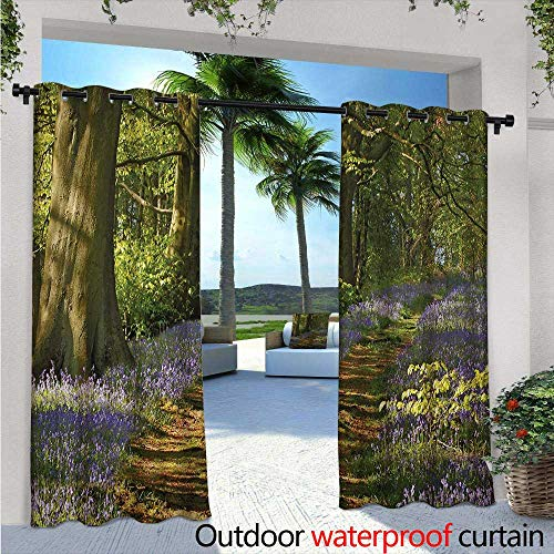 Staffordshire Cottage (BlountDecor Woodland Outdoor Blackout Curtains A Carpet of Bluebells Spreads Through Woodland in Staffordshire England Outdoor Privacy Porch Curtains W108 x L108 Green Purple Brown)