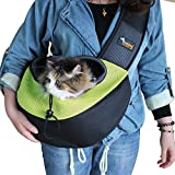 Ondoing Small Dog Cat Sling Carrier Bag Travel Tote Soft Comfortable Puppy Kitty Rabbit Shoulder Carry Tote Handbag, Green