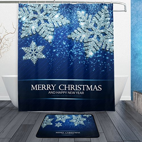 - La Random Shining Silver Snowflakes And Stars Bathroom Shower Curtain and Bath Rugs Set 60x72 Inch Polyester With 12 Hooks