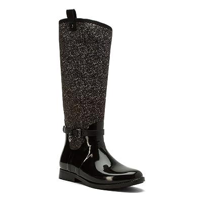 MICHAEL Michael Kors Women's Charm Stretch Rainboot Black/White Boot
