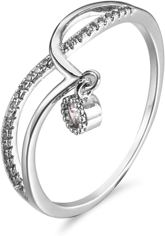 X Anniversary Hanging Shining Gem-Cute Dainty Rings for Women Pointer Chevron Rings Perfect Wedding HALFETI Criss Cross Heart Ring